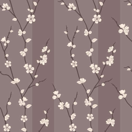 japanese garden: Beautiful vector seamless pattern with sakura branches