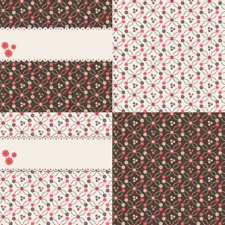 Set of seamless vector floral backgrounds with red flowers Stock Vector - 13215165