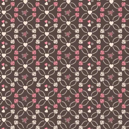 かわいいベクトル心とバラでシームレスなパターン  イラスト・ベクター素材
