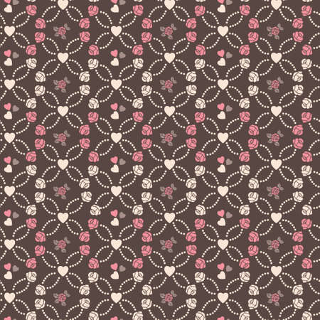 Cute vector seamless pattern with hearts and roses