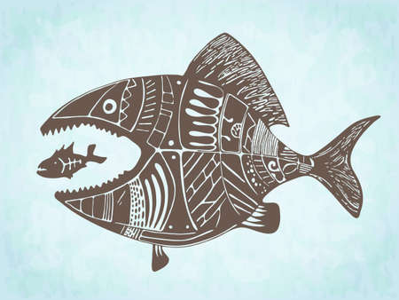 symbol victim: Vector hand drawn fish eating another fish