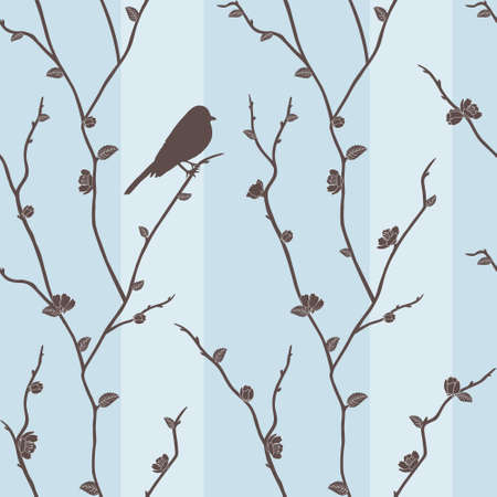 patterns japan: Beautiful vector seamless pattern with bird on sakura branches Illustration