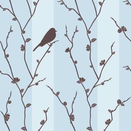 Hermosa sin fisuras vector patrón con el pájaro en las ramas de sakura