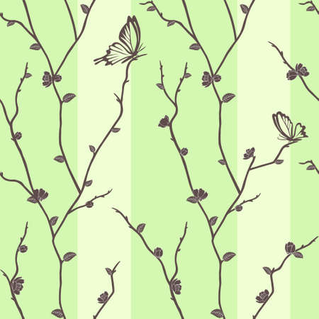 Vector seamless pattern with butterflies on sakura branches Vector
