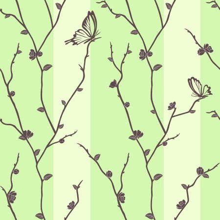 Vector seamless pattern with butterflies on sakura branches Vector