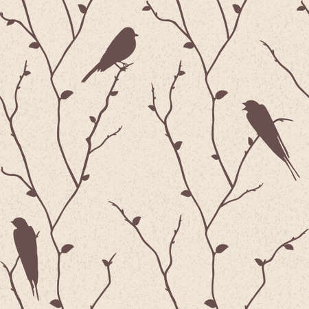Beautiful vector seamless pattern with birds on sakura branches Vector