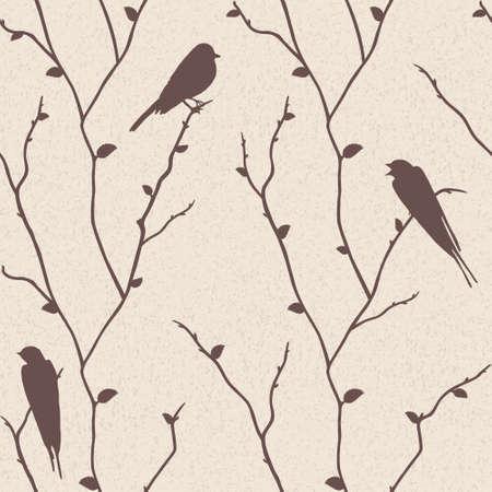 sparrow bird: Beautiful vector seamless pattern with birds on sakura branches