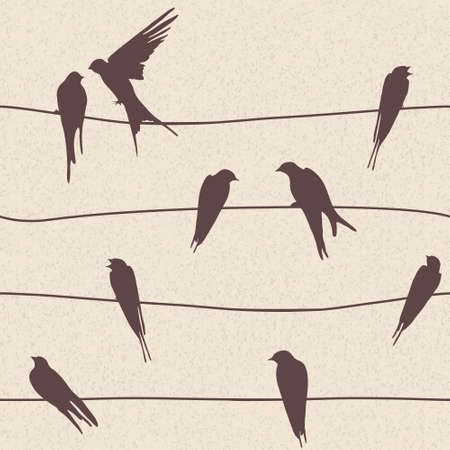 Beautiful vector seamless pattern with birds sitting on wires Vector