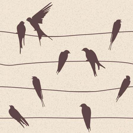golondrinas: Vector patrón hermosa perfecta con pájaros posados ??en los cables