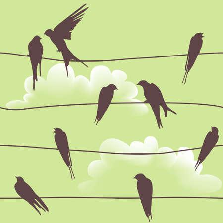 美しいベクトル ワイヤ上に座っている鳥とのシームレスなパターン