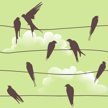 swallow bird: Beautiful vector seamless pattern with birds sitting on wires