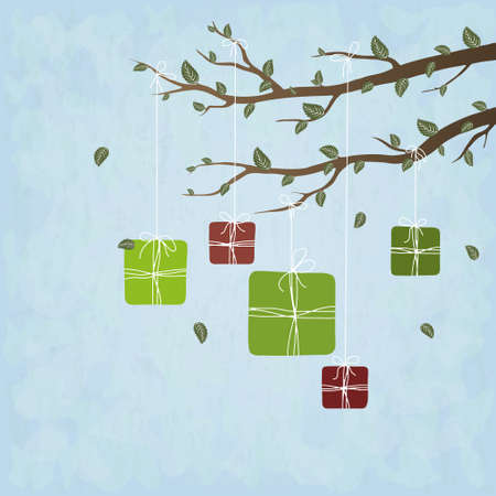 Cute gifts hanging on spring tree branches, vector illustration Vector