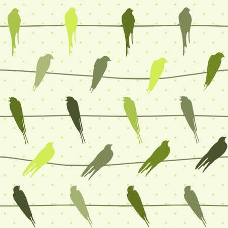 ワイヤ上のカラフルな鳥とのシームレスなパターン