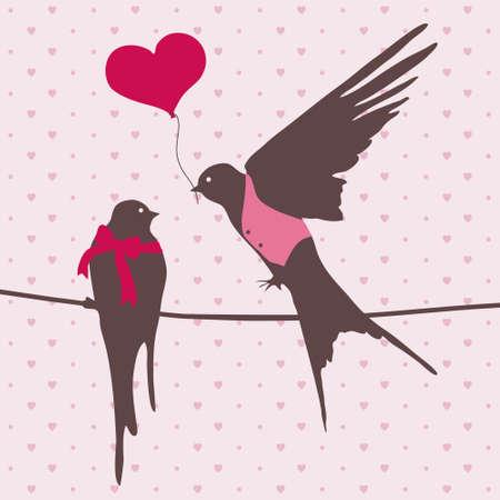 愛のかわいい鳥の図  イラスト・ベクター素材