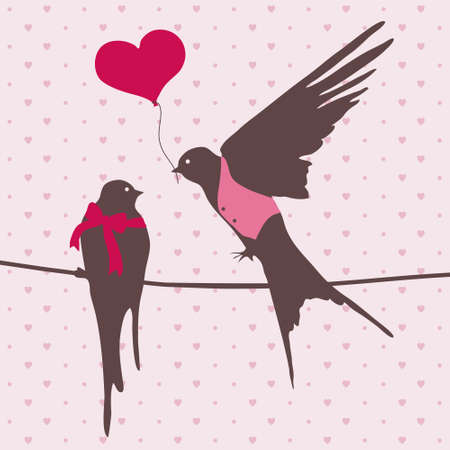 illustration with cute birds in love Vector