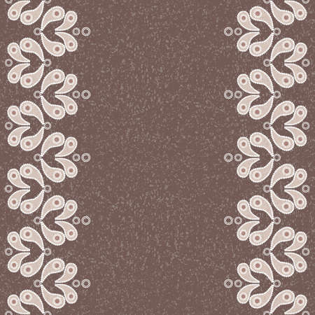 Vector vintage seamless background with beige paisley pattern