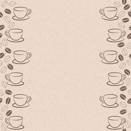 frame with coffee beans and cups Vector