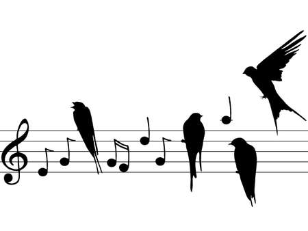 treble clef: music notes with birds Illustration