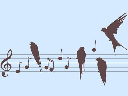 鳥と音楽ノート  イラスト・ベクター素材