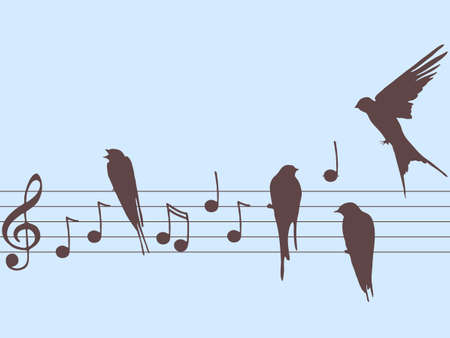 music notes with birds Illustration