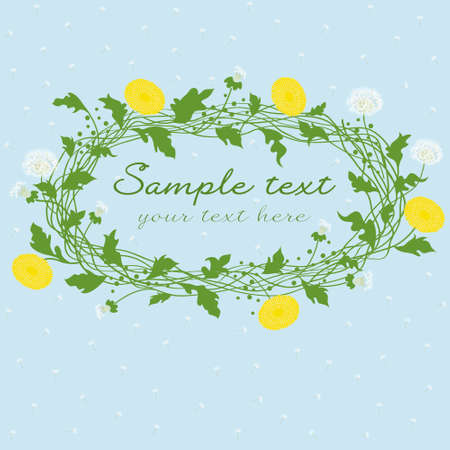frame for text with dandelion flowers and seeds Vector