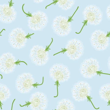 Seamless pattern with dandelions and seeds flying Vector