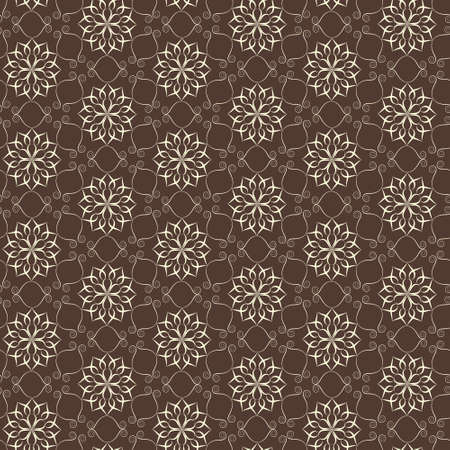 Elegant lace pattern, white on brown Vector