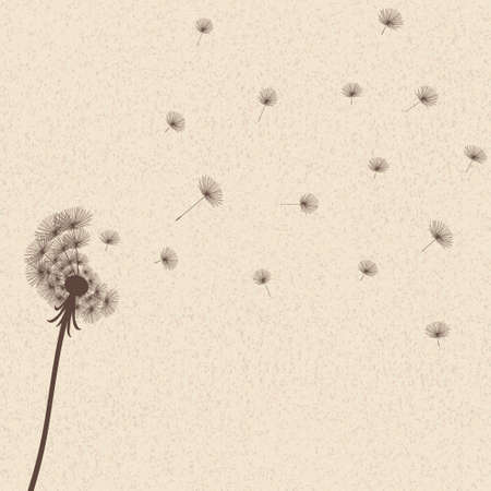 Cute vector blow dandelion on old background Vector