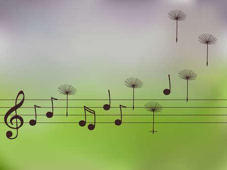 letras musicales: Vector ilustración de notas de la música con las semillas de diente de león