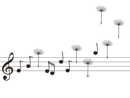 Vector illustration of music notes with dandelion seeds