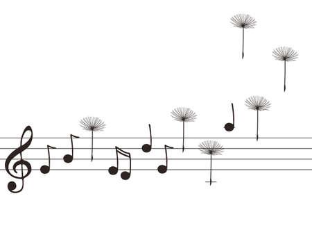 viento soplando: Vector ilustraci�n de notas de la m�sica con las semillas de diente de le�n