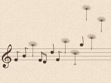 タンポポの種の音楽ノートのベクトル イラスト  イラスト・ベクター素材