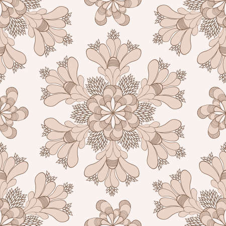Vector vintage ethnic floral pattern with beige flowers Vector