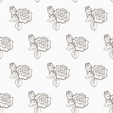 Élégant modèle vectoriel dentelle avec des roses, gris sur fond blanc