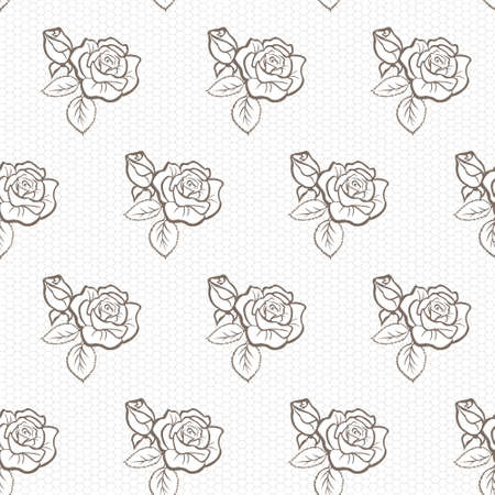 Elegant lace vector pattern with roses, grey on white
