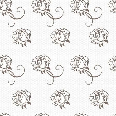 black lace: Elegant lace vector pattern with roses, grey on white