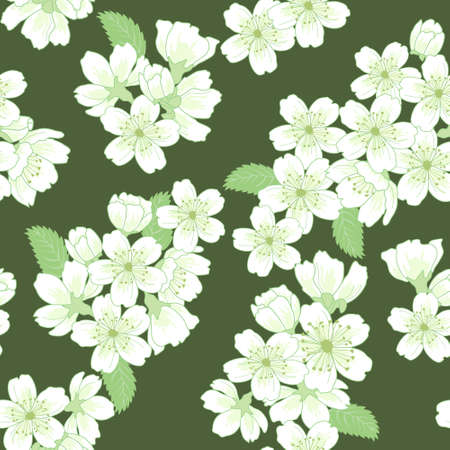apple leaf: Beautiful vector seamless pattern with apple flowers and leaves