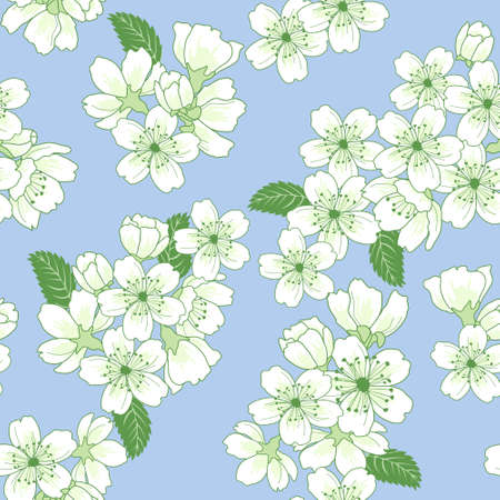 Beautiful vector seamless pattern with apple flowers and leaves