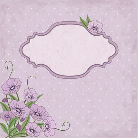 buttercup  decorative: Vector floral frame with violet flowers and place for text