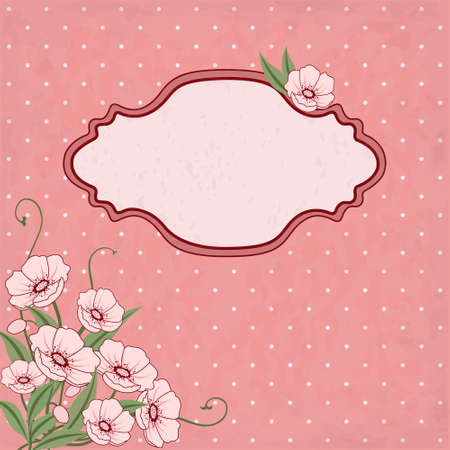 grungy dots: Vector floral frame with pink flowers and place for text