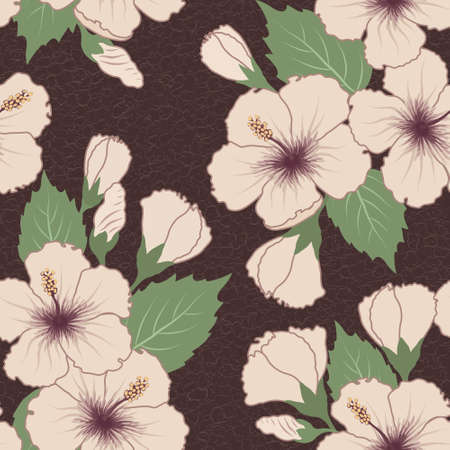 luau: Vector seamless tropical pattern with hibiscus flowers