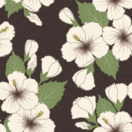 ハイビスカスの花を持つ熱帯パターンをシームレスなベクトル  イラスト・ベクター素材