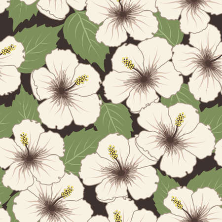 summer break: Vector seamless tropical pattern with hibiscus flowers