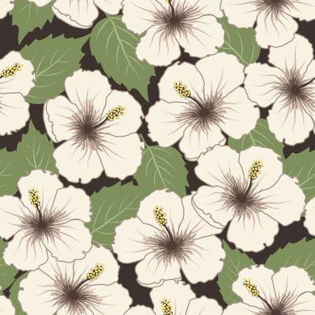 luau party: Vector sin fisuras patr�n tropical con flores de hibisco