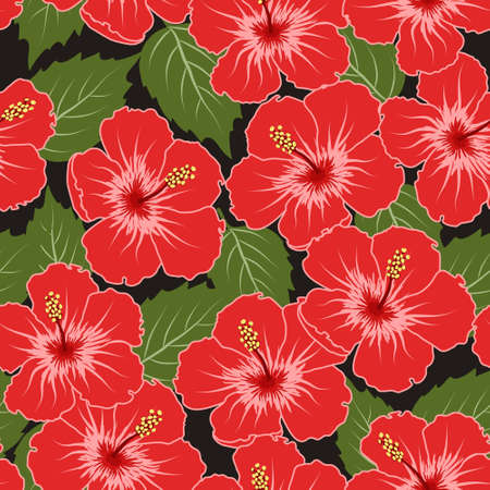 flores: Vector seamless tropical pattern with hibiscus flowers