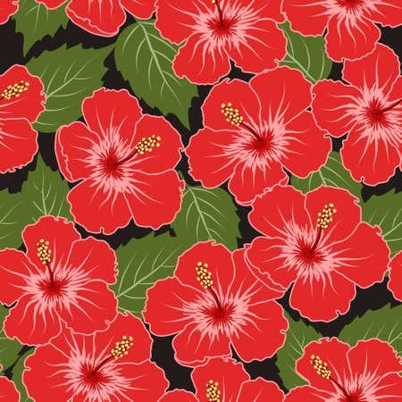 fiori di ibisco: Vettoriali senza soluzione di modello tropicale con fiori di ibisco