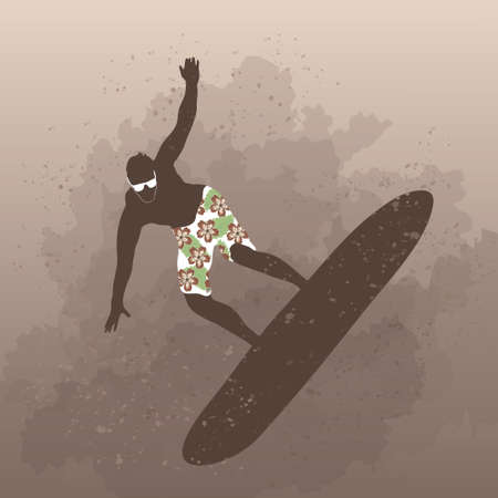 surfer silhouette: Vector illustration of man surfing on board
