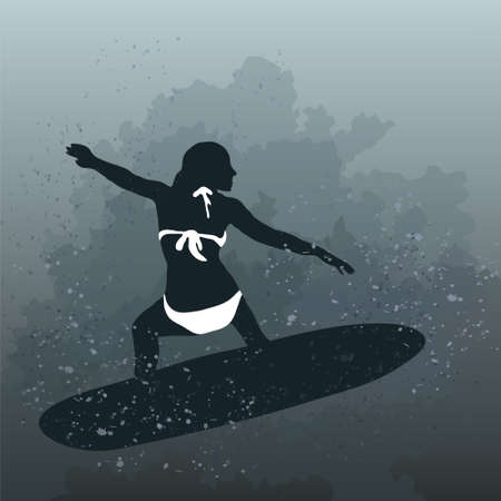 Vector illustration of woman surfing on board Vector