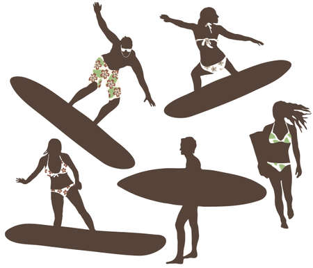 surfer silhouette: Vector illustration of men and women with surfboards, isolated
