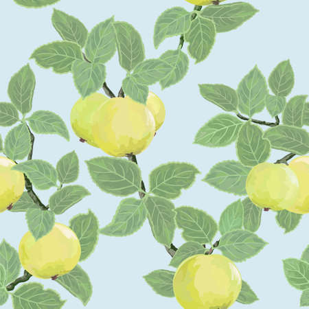 Bright seamless texture with ripe yellow apples Illustration